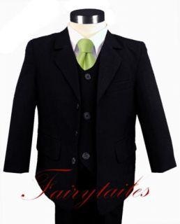 Gino Formal Boy Black Suit w Green Tie Size 4