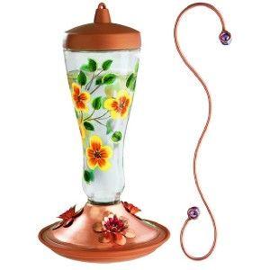 Avant Hand Painted Glass Hummingbird Feeder W/ Decorative Hook