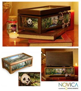 Colorful Pandas Reverse Painted Glass Jewelry Box