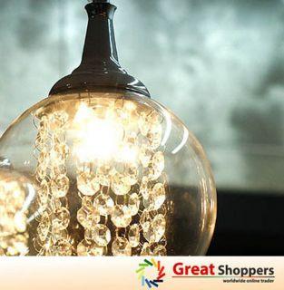 New Modern Glass Shade w Crystal Ceiling Light Pendant Lamp Lighting