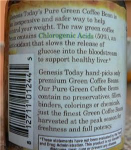 GENESIS TODAY 100% PURE GREEN COFFEE BEAN EXTRACT 4 WEIGHT LOSS SEEN