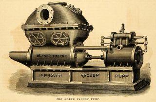 1878 Print Blake Vacuum Pump Geo F Manufacturing Co Vintage Machinery