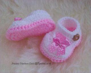 Baby Girls Crochet Knitted Mary Jane Shoes Handmade Baby Gift BNWT
