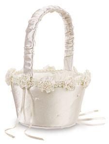 White Wedding Flower Girl Basket S