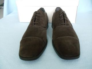 Mens Calvin Klein Glendon Suede Oxford Dress Shoes Dark Brown Size 9