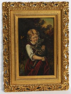 RUDOLF EPP, 1880s OIL, Listed German Artist, YOUNG GIRL HOLDING A CAT
