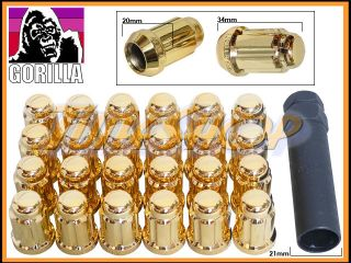 24 Gorilla Spline Tuner Lock Lug Nut 12x1 5 1 5 Acorn Wheels Rims Gold