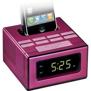 RCA Pink Dual Alarm Clock FM Radio with iPod iPhone Dock LED Display