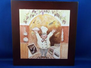 Riggsbee Happy Fat Gourmet Chef Wall Plaque Wood Framed Tile Bon