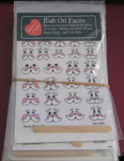 Crafting Scrapbooking Rubons Christmas Themed Santa Face 16 Packs