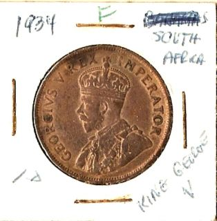 1934 South Africa 1 D King George V Good Collector Coin