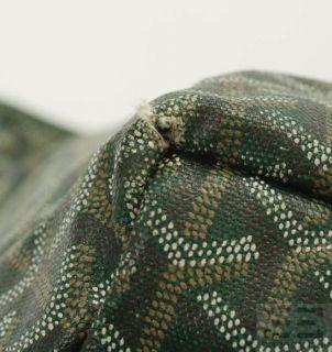 Goyard Green Chevron Coated Canvas Leather Trim St Louis PM Tote Bag