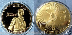 Michael Jackson Coin Gold Music Autograph Signature George Elvis