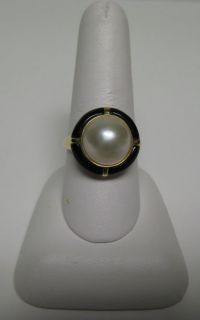 14k Yellow Gold Mabe Pearl Black Onyx Ring