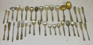 36 Antique Silverplate Flatware Rogers Oneida Fairfield Fork Knife