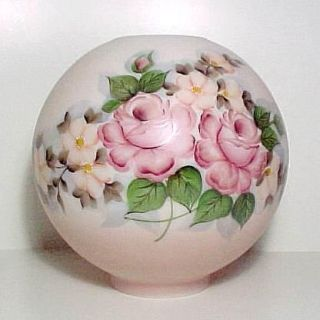 The Wind Ball Glass Oil Lamp Shade Hand Painted Kerosene Table