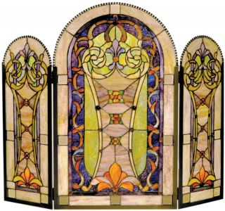 Dale Tiffany Fireplace Screen Lavender Lime Tangerine Art Glass Brass