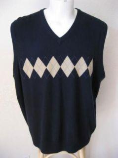 Mens GEORGE Dark Navy Blue Argyle Print Soft 100% Acrylic Sweater Vest