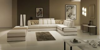 Contemporary Manhattan Leather Sectional Sofa Couch Ultra Modern