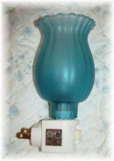 Night Light Blue Aqua Glass Lamp Shade Country Vintage Victorian Style