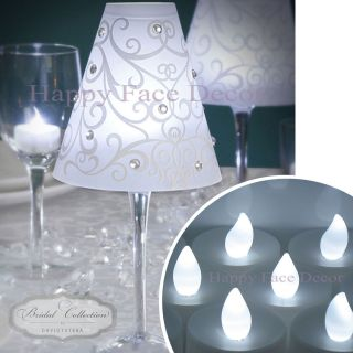 12 WINE GLASS SHADES + 12 WHITE LED TEA LIGHTS Candle Table Decor