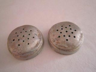 Old McKee Red Dot Roman Arch Custard Glass Salt Pepper Shakers