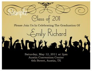 20 Personalized Custom Black Graduation Party Invitations