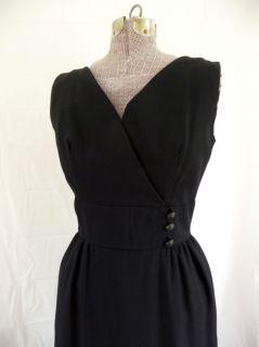 Vintage 60s Cool Black Dress w Zip Off Tiered Skirt S