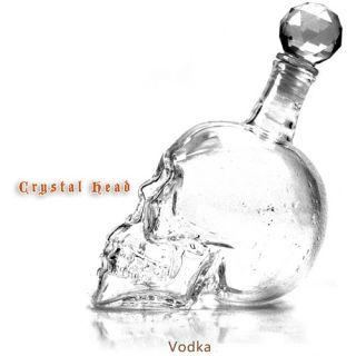 Head Skull Bone Vodka Whiskey Glass Bottle Decanter Cup Home Bar 320ml
