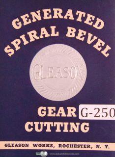Gleason Generator Gear Cutter Setting Table Manual 1938