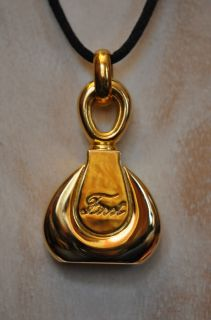 Van Cleef and Arpels Perfume Bottle Shaped Gold Pendant Necklace Black