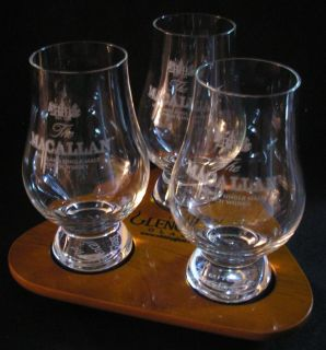 Macallan Glencairn Scotch Whisky Three Glass Flight Tray Set