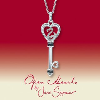 Diamond Key Necklace Black & White Jane Seymour Open Heart Collection