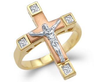 Ladies 14k Yellow Tri Color Gold Cross Crucifix Ring