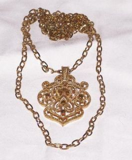 Signed CROWN TRIFARI Gold Tone Metal Double Chain Pendant Necklace