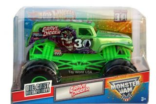 2012 Hot Wheels Monster Jam Monster Truck Grave Digger 30th Green