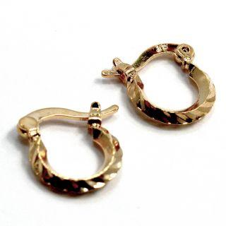 Gold 18K GF Earrings Small Tiny Hoop Baby Girl Infants Kids Braid 7mm
