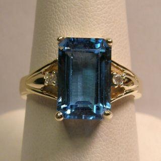 14k Yellow Gold Genuine London Blue Topaz and Diamond Ring