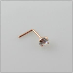 Solid Rose Gold Nose Stud Bone Body Piercing CZ