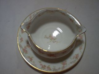 Theodore Haviland Limoges Round Gravy Boat Pink Roses Gold Trim