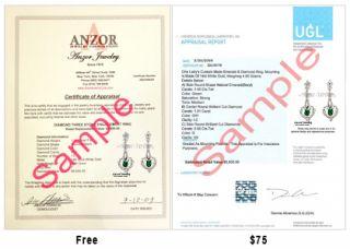Russian Jewelry 14k w Gold Emerald Diamond Earrings E1056