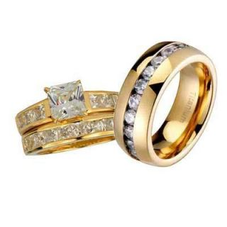 Mens Womens Gold Vermeil Silver Titanium Wedding Ring CZ Set