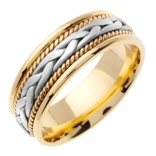14k Gold Twisted Rope Braided Wedding Band Ring 7 Mm