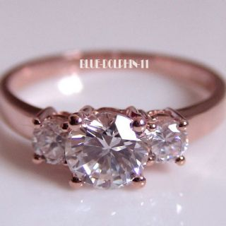 Genuine Solid 9ct Rose Gold Engagement Wedding Trilogy Rings Simulated