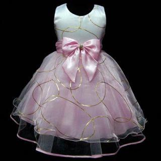 USPI1530 xmas Pink Pageant Wedding Flower Girls Dress Sz 2 3 4 5 6 7