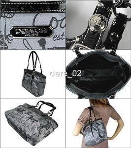 Coach Black Horse Signature Purse Bag Tote 16563
