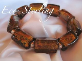 Silpada Sterling Rare & Retired Chunky Baltic Amber Glass Stretch Bead