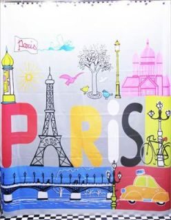 Art Eiffel Tower Sacred Heart Church Seine Bridge Shower Bath Curtain