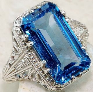 6ct London Blue Topaz 925 Sterling Silver Victorian Style Filigree
