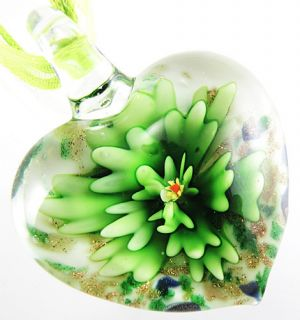 Green Flower Heart Shape Lampwork Murano Art Glass Bead Pendant Ribbon